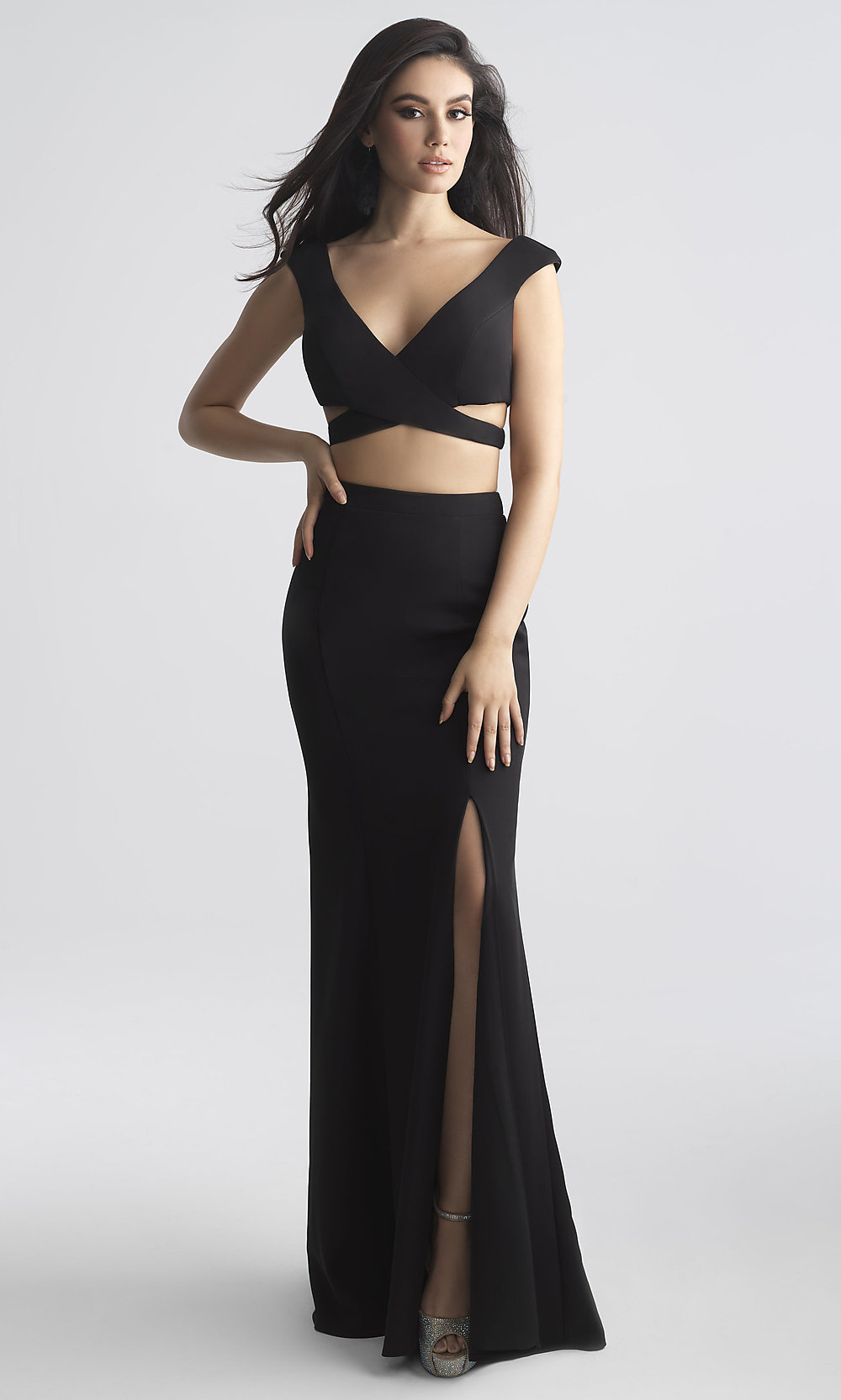 Long V Neck Prom Dress With Side Cut Outs