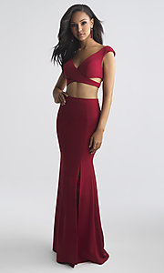 Long V-Neck Prom Dress with Side Cut-Outs
