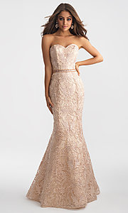 Madison James Mermaid-Style Embroidered Prom Dress