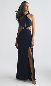 Image of racer-style high-neck designer prom dress with insets.  Style: NM-18-661 Detail Image 1