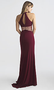 Image of racer-style high-neck designer prom dress with insets.  Style: NM-18-661 Back Image