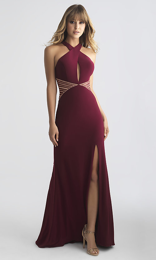 Image of racer-style high-neck designer prom dress with insets.  Style: NM-18-661 Front Image