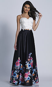 Two-Piece Print Skirt Prom Dress