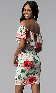 Image of floral-print sheath off-the-shoulder party dress. Style: TOP-D6166 Back Image