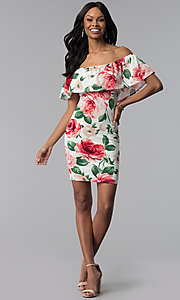 Image of floral-print sheath off-the-shoulder party dress. Style: TOP-D6166 Detail Image 2