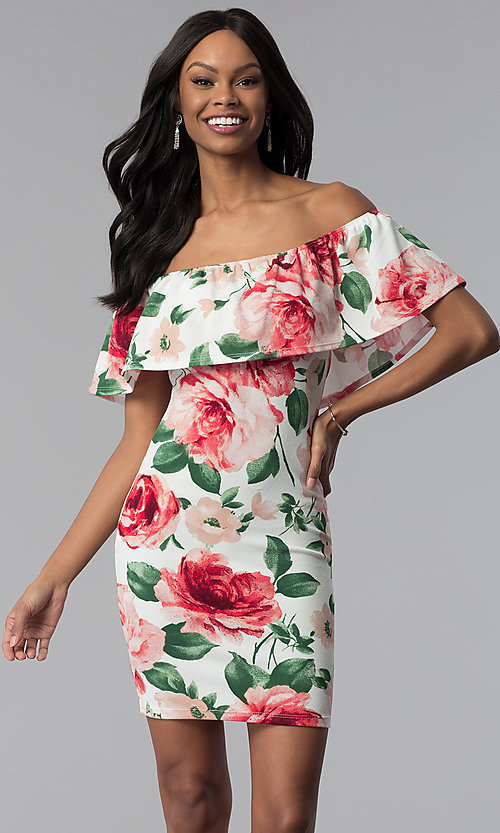 Image of floral-print sheath off-the-shoulder party dress. Style: TOP-D6166 Detail Image 1