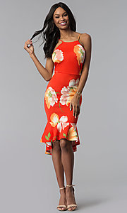 Image of floral-print high-low knee-length sheath party dress. Style: TOP-MD4182 Detail Image 2