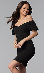 Off-the-Shoulder Puff-Sleeve Short Party Dress