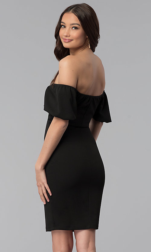 Image of off-the-shoulder puff-sleeve short party dress. Style: TOP-D6084 Back Image