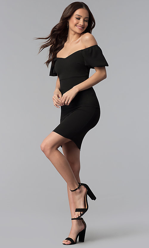 Image of off-the-shoulder puff-sleeve short party dress. Style: TOP-D6084 Detail Image 2