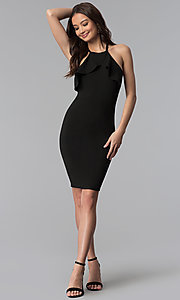 Image of flutter-collar racer-front short bodycon party dress. Style: TOP-D6107 Detail Image 2