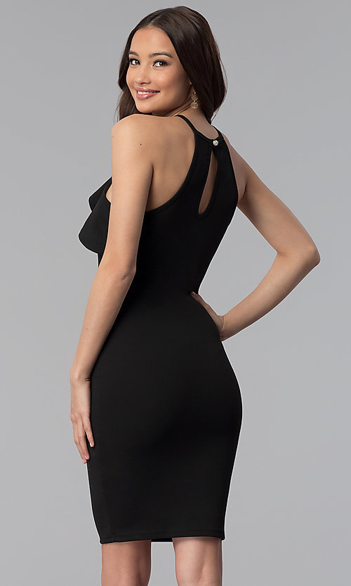 Image of flutter-collar racer-front short bodycon party dress. Style: TOP-D6107 Back Image