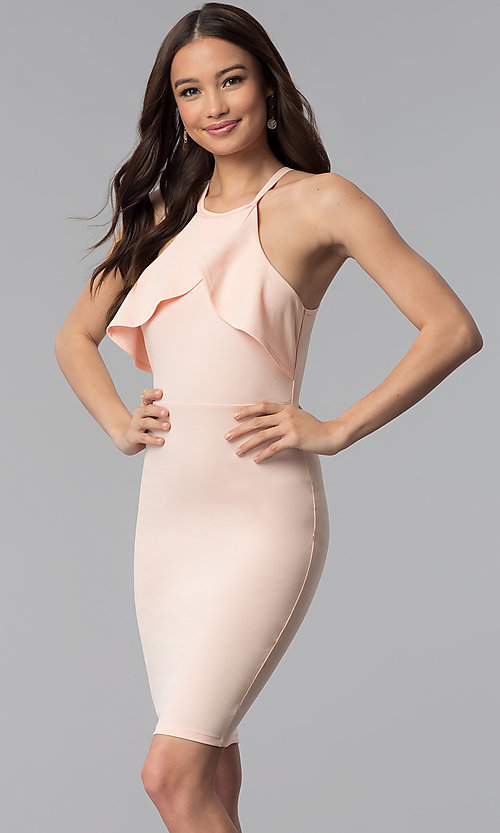 Image of flutter-collar racer-front short bodycon party dress. Style: TOP-D6107 Detail Image 3
