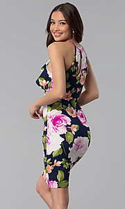 Image of floral-print flutter-collar short party dress. Style: TOP-MD4178 Back Image