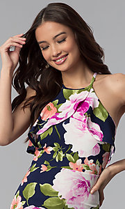 Image of floral-print flutter-collar short party dress. Style: TOP-MD4178 Detail Image 1
