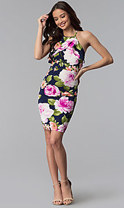 Image of floral-print flutter-collar short party dress. Style: TOP-MD4178 Detail Image 2
