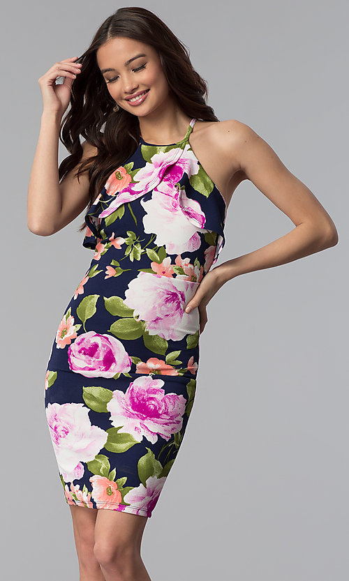 Image of floral-print flutter-collar short party dress. Style: TOP-MD4178 Front Image
