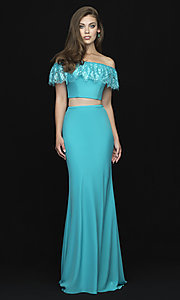 Image of off-shoulder lace-ruffle long two-piece prom dress. Style: NM-18-667 Front Image