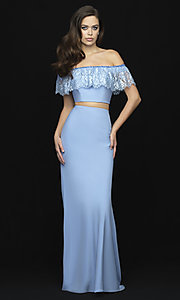 Image of off-shoulder lace-ruffle long two-piece prom dress. Style: NM-18-667 Detail Image 3
