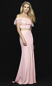 Image of off-shoulder lace-ruffle long two-piece prom dress. Style: NM-18-667 Detail Image 1