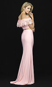 Image of off-shoulder lace-ruffle long two-piece prom dress. Style: NM-18-667 Back Image