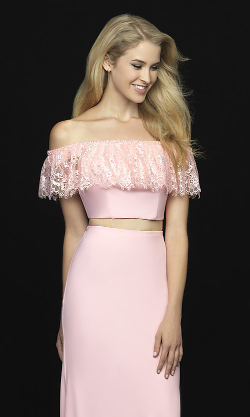 Image of off-shoulder lace-ruffle long two-piece prom dress. Style: NM-18-667 Detail Image 2