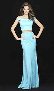 Image of long two-piece prom dress by Madison James. Style: NM-18-669 Front Image