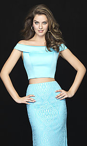 Image of long two-piece prom dress by Madison James. Style: NM-18-669 Detail Image 1