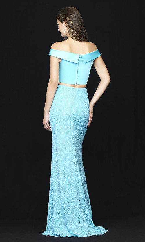 Image of long two-piece prom dress by Madison James. Style: NM-18-669 Back Image