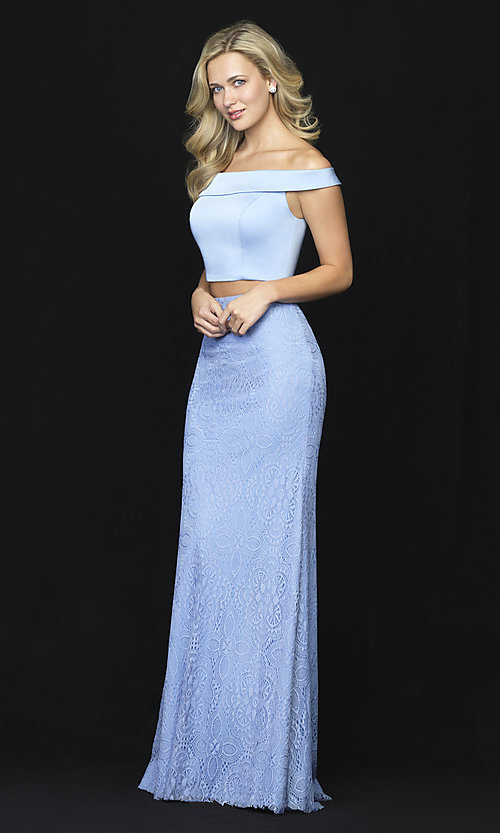 Image of long two-piece prom dress by Madison James. Style: NM-18-669 Detail Image 2