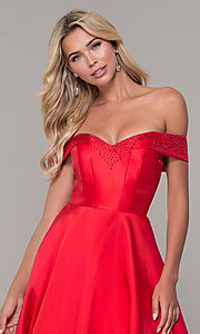 Image of long off-the-shoulder ball gown for prom. Style: DJ-A6251 Detail Image 1