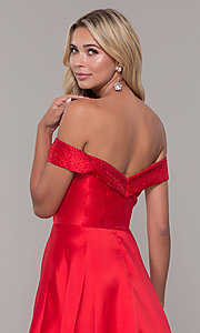 Image of long off-the-shoulder ball gown for prom. Style: DJ-A6251 Detail Image 2