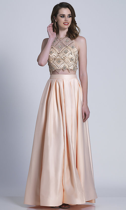 Image of long high-neck two-piece prom dress. Style: DJ-A6290 Front Image