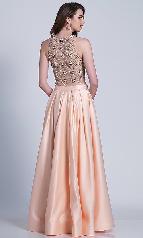 Image of long high-neck two-piece prom dress. Style: DJ-A6290 Back Image