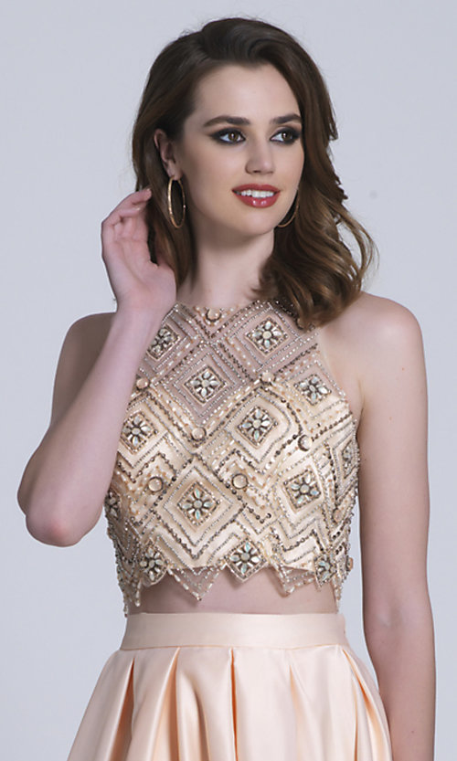 Image of long high-neck two-piece prom dress. Style: DJ-A6290 Detail Image 1