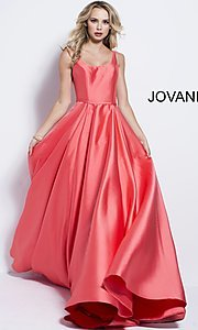 Scoop-Neck A-Line Prom Dress with Pockets