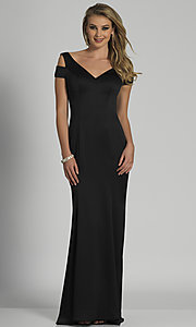 Image of cold-shoulder long black formal prom dress. Style: DJ-A6513 Front Image