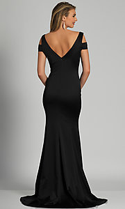 Image of cold-shoulder long black formal prom dress. Style: DJ-A6513 Back Image