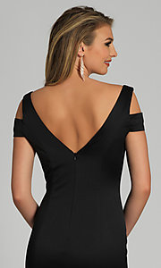 Image of cold-shoulder long black formal prom dress. Style: DJ-A6513 Detail Image 2