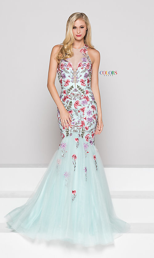 Open-Back Long Floral-Embroidered Mermaid Prom Dress