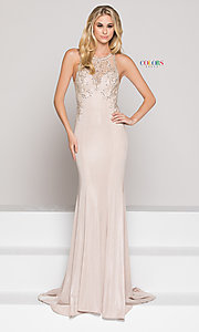 Long Illusion High-Neck Sweetheart Prom Dress with Beading