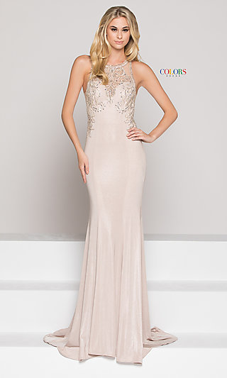 743c2bc658fe Long Illusion High-Neck Sweetheart Prom Dress with Beading