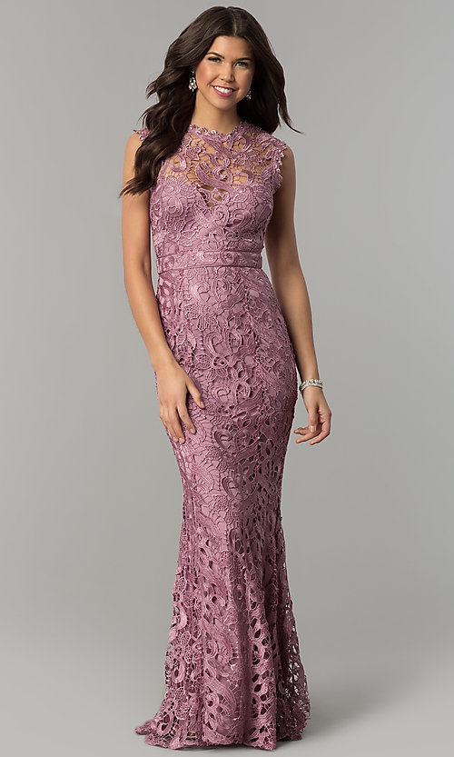 Image of lace long mauve pink formal wedding guest dress. Style: LP-24504m Front Image