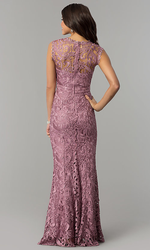 Image of lace long mauve pink formal wedding guest dress. Style: LP-24504m Back Image