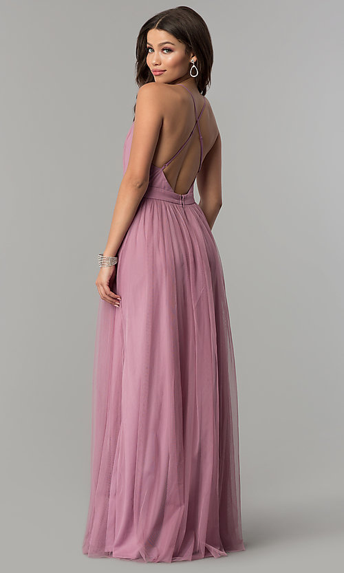 Image of low-v-neck long a-line mauve pink tulle prom dress.  Style: LP-27450m Back Image