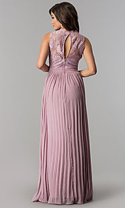 Image of high-neck long prom dress with pleated skirt. Style: LP-24305m Back Image