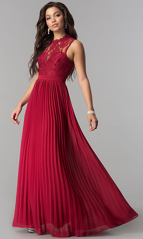 Image of high-neck long prom dress with pleated skirt. Style: LP-24305m Detail Image 2