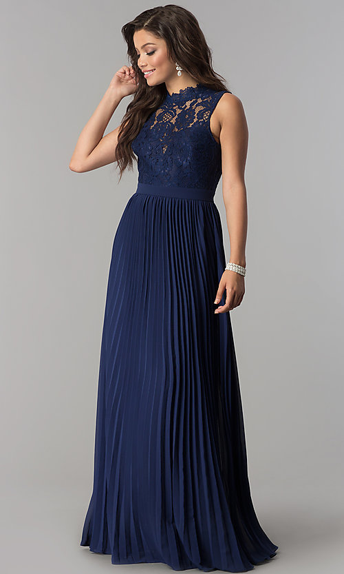 Image of high-neck long prom dress with pleated skirt. Style: LP-24305m Front Image