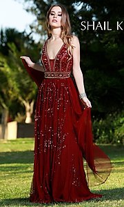 Long Beaded and Sequined Shail K. Prom Dress
