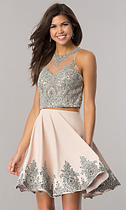 Image of two-piece Dave and Johnny short taupe prom dress. Style: DJ-A5476t Front Image